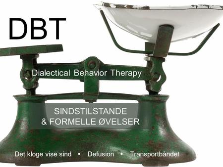 DBT Dialectical Behavior Therapy SINDSTILSTANDE & FORMELLE ØVELSER