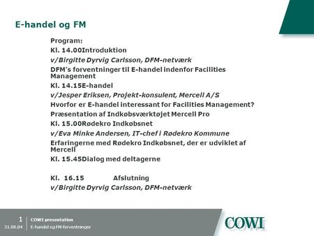 E-handel og FM Program: Kl Introduktion