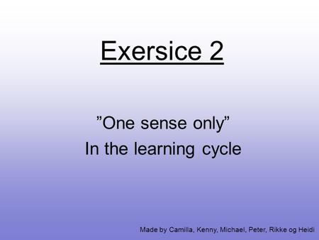 "Exersice 2 ""One sense only"" In the learning cycle Made by Camilla, Kenny, Michael, Peter, Rikke og Heidi."
