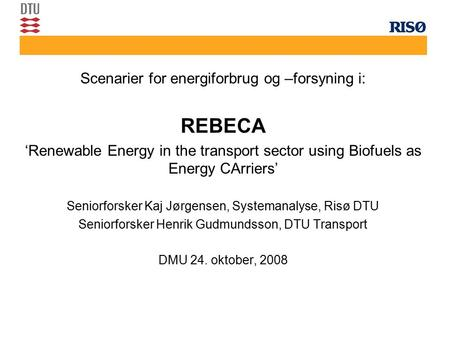 Scenarier for energiforbrug og –forsyning i: REBECA 'Renewable Energy in the transport sector using Biofuels as Energy CArriers' Seniorforsker Kaj Jørgensen,