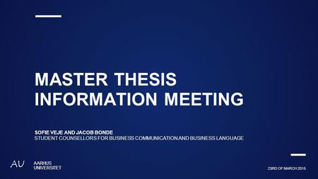 Thesis and Capstone Options