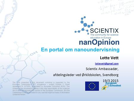 NanOpinion En portal om nanoundervisning The work presented in this document/ workshop is supported by the European Commission's FP7 programme – project.