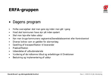 ERFA-gruppen Dagens program