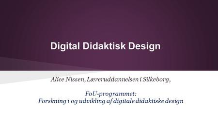Digital Didaktisk Design