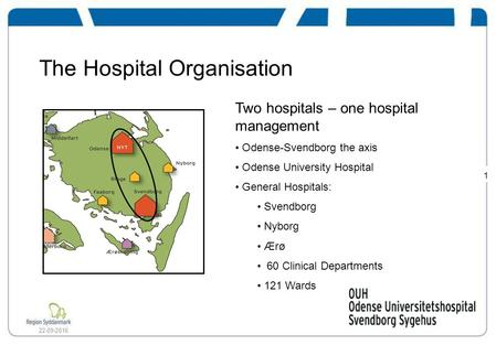 1 22-09-2016 The Hospital Organisation Two hospitals – one hospital management Odense-Svendborg the axis Odense University Hospital General Hospitals: