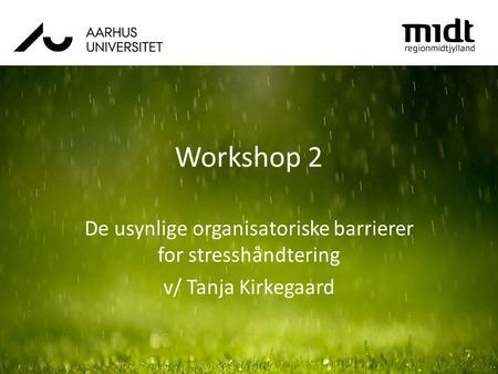 Workshop 2 De usynlige organisatoriske barrierer for stresshåndtering v/ Tanja Kirkegaard.