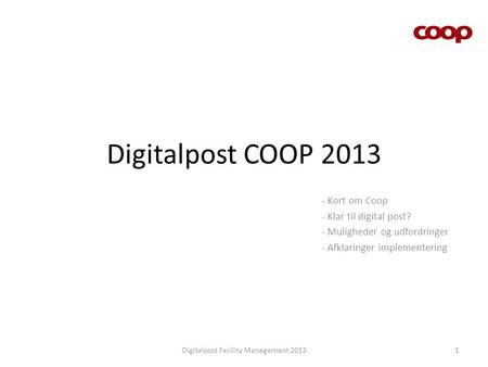 Digitalpost Facility Management 2013
