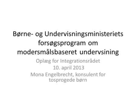 Oplæg for Integrationsrådet 10. april 2013