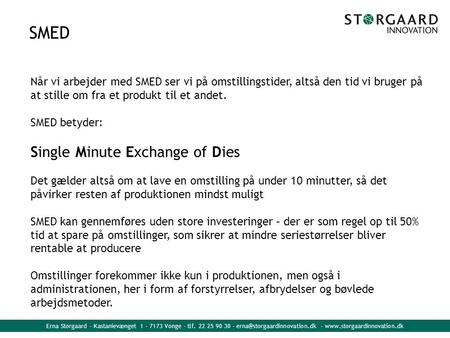 SMED Single Minute Exchange of Dies
