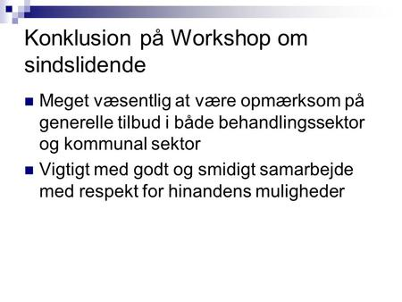 Konklusion på Workshop om sindslidende