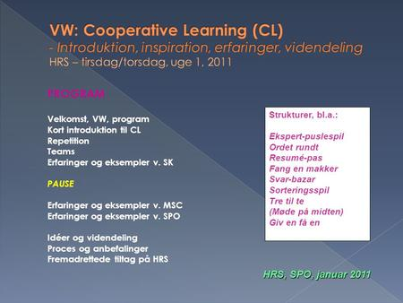 VW: Cooperative Learning (CL) - Introduktion, inspiration, erfaringer, videndeling HRS – tirsdag/torsdag, uge 1, 2011 PROGRAM Velkomst, VW, program Kort.