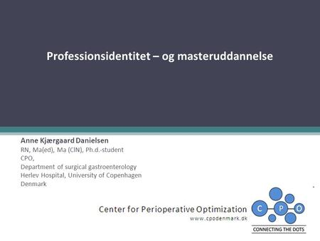 Professionsidentitet – og masteruddannelse