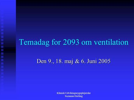 Temadag for 2093 om ventilation