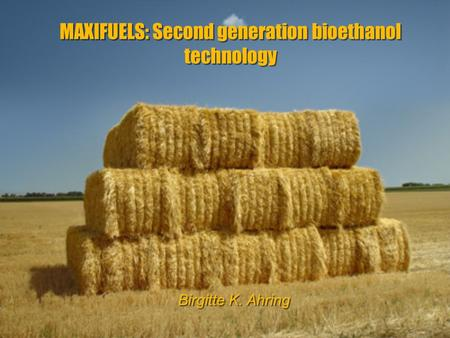 MAXIFUELS: Second generation bioethanol technology Birgitte K. Ahring.