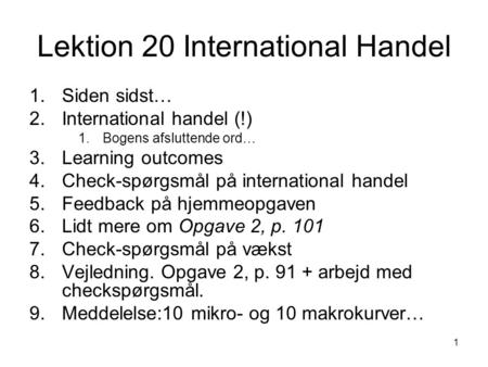 Lektion 20 International Handel