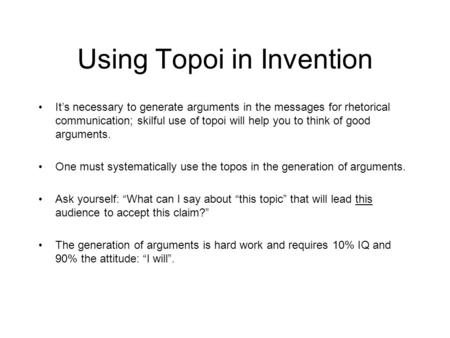Using Topoi in Invention