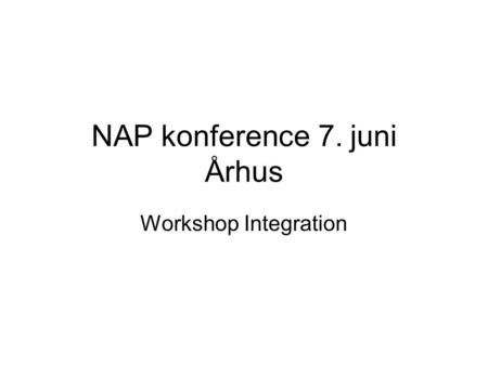 NAP konference 7. juni Århus Workshop Integration.