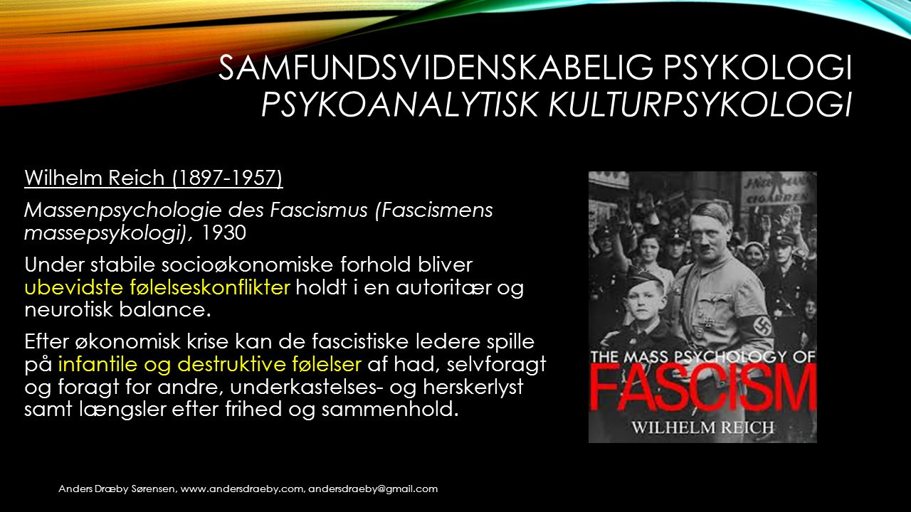 Samfundsvidenskabelig psykologi Psykoanalytisk kulturpsykologi