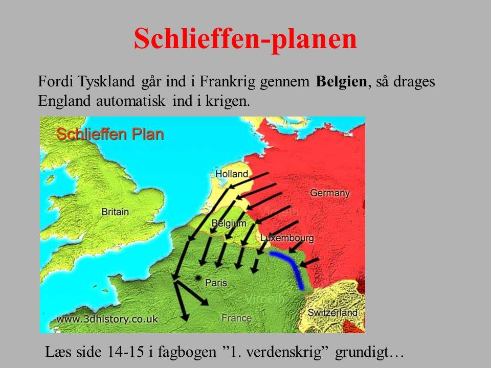 Schlieffen-planen Fordi Tyskland går ind i Frankrig gennem Belgien, så drages England automatisk ind i krigen.