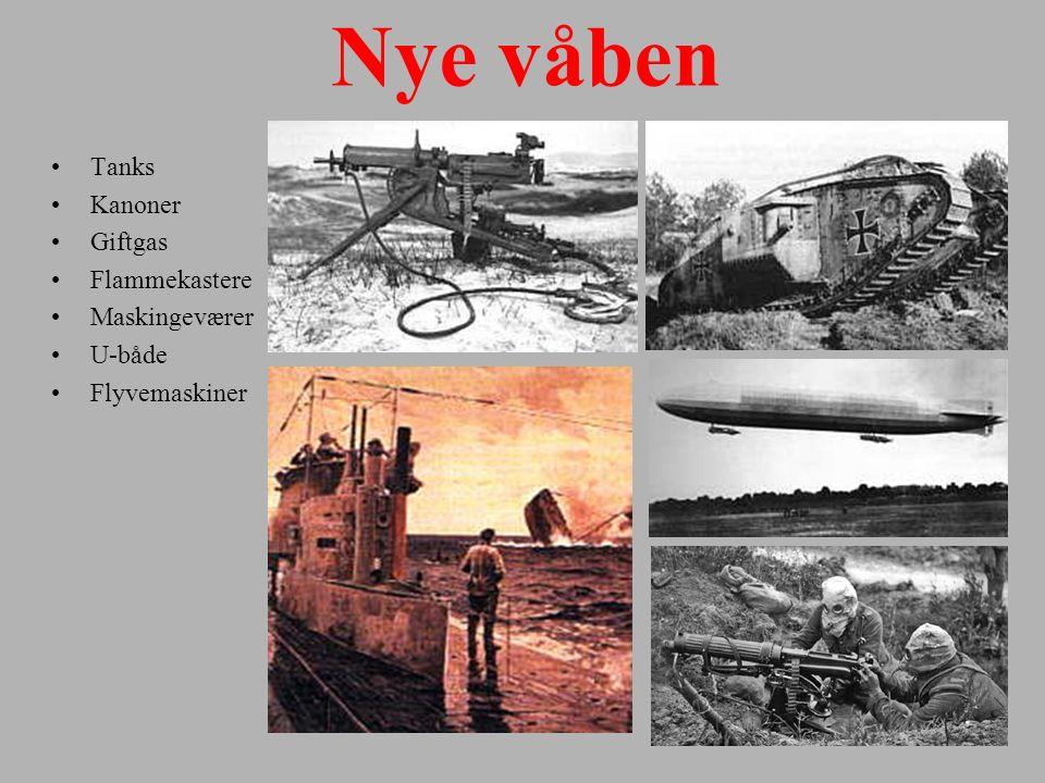 Nye våben Tanks Kanoner Giftgas Flammekastere Maskingeværer U-både