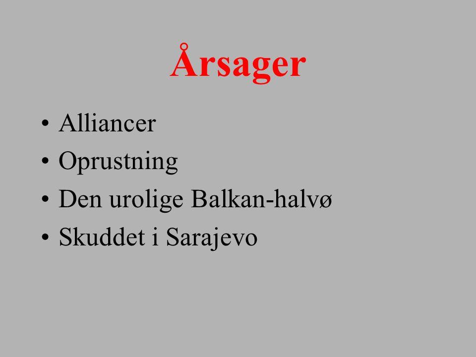 Årsager Alliancer Oprustning Den urolige Balkan-halvø