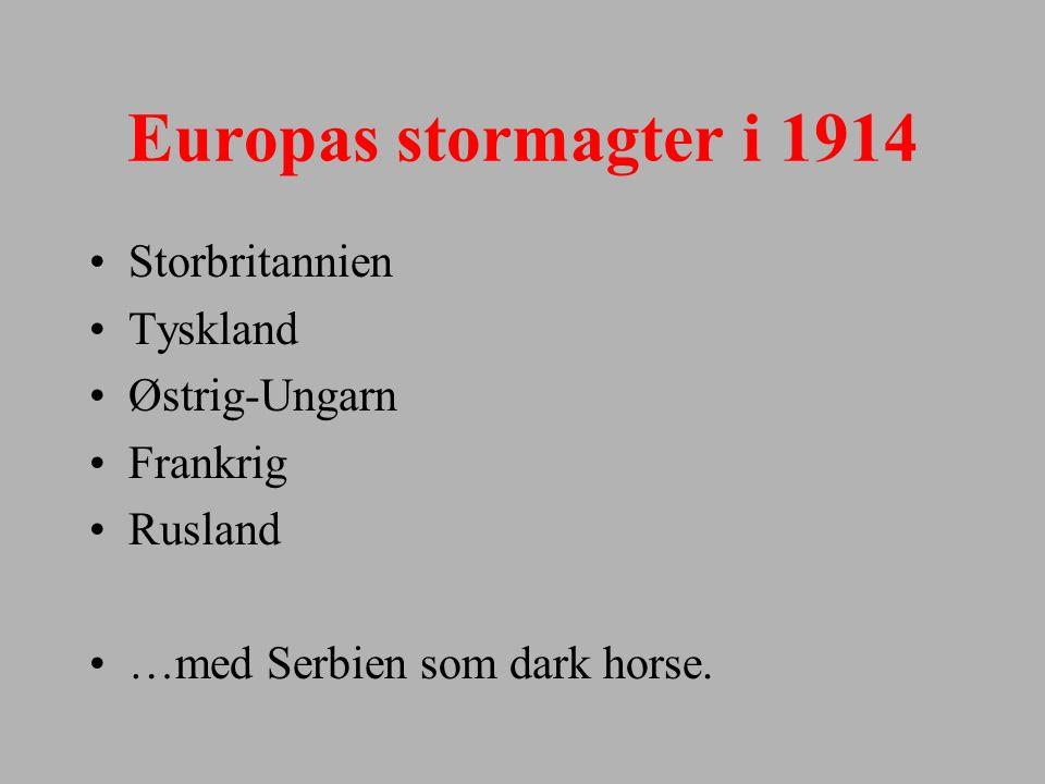 Europas stormagter i 1914 Storbritannien Tyskland Østrig-Ungarn