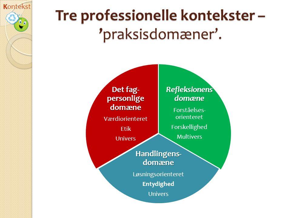 Tre professionelle kontekster –'praksisdomæner'.