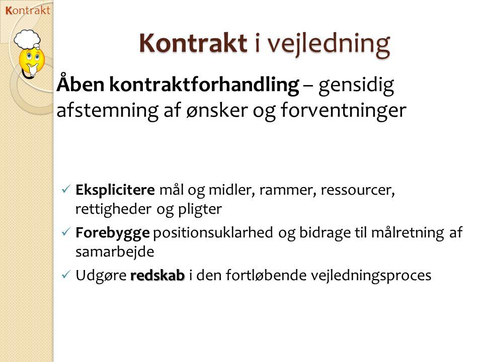 Kontrakt Kontrakt i vejledning. Åben kontraktforhandling – gensidig afstemning af ønsker og forventninger.