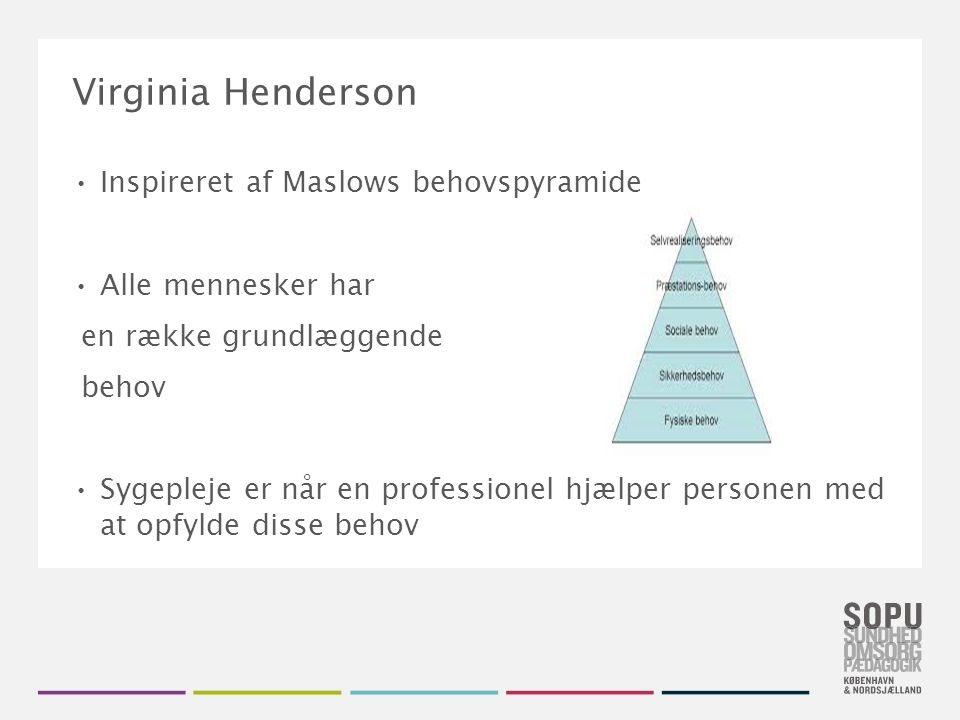Virginia Henderson Inspireret af Maslows behovspyramide