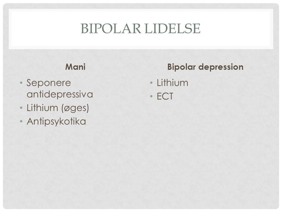 Bipolar lidelse Seponere antidepressiva Lithium (øges) Antipsykotika