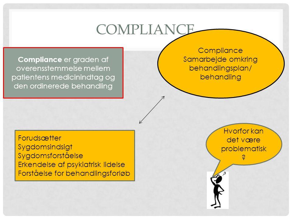 Compliance Compliance Samarbejde omkring behandlingsplan/
