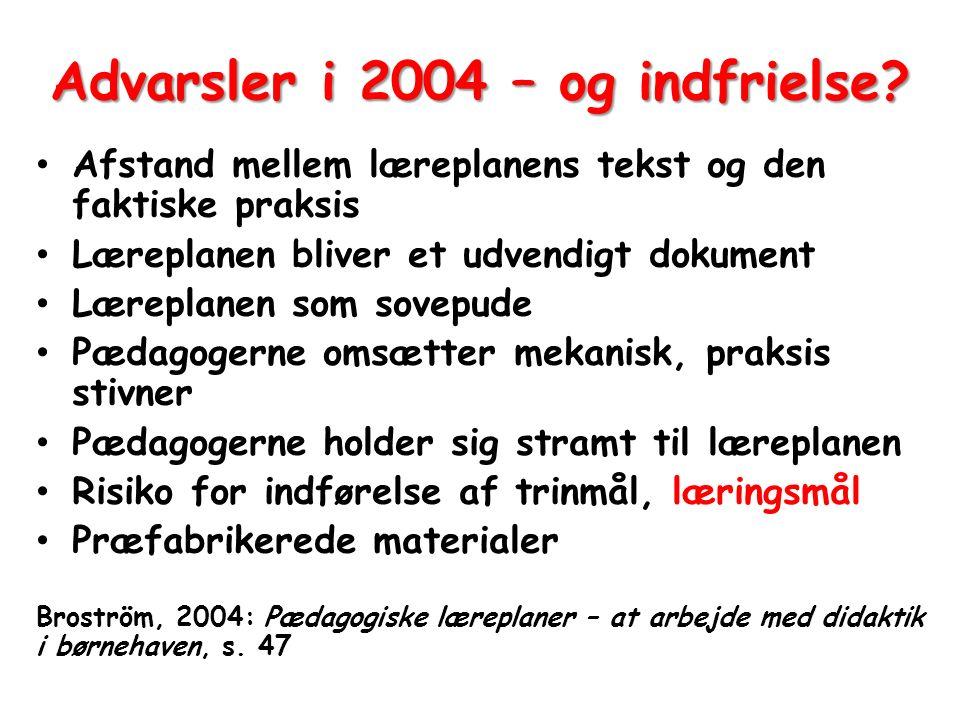 Advarsler i 2004 – og indfrielse
