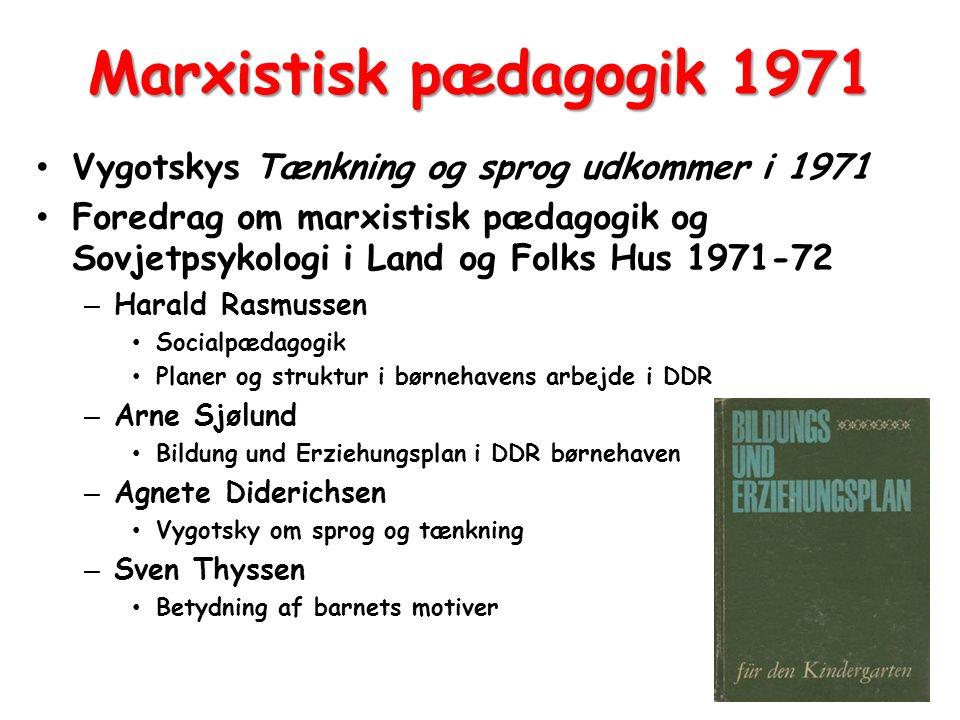Marxistisk pædagogik 1971 Vygotskys Tænkning og sprog udkommer i 1971