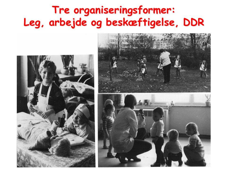 Tre organiseringsformer: Leg, arbejde og beskæftigelse, DDR