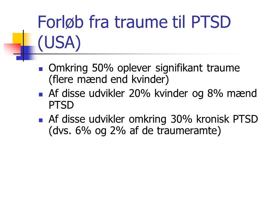 Forløb fra traume til PTSD (USA)