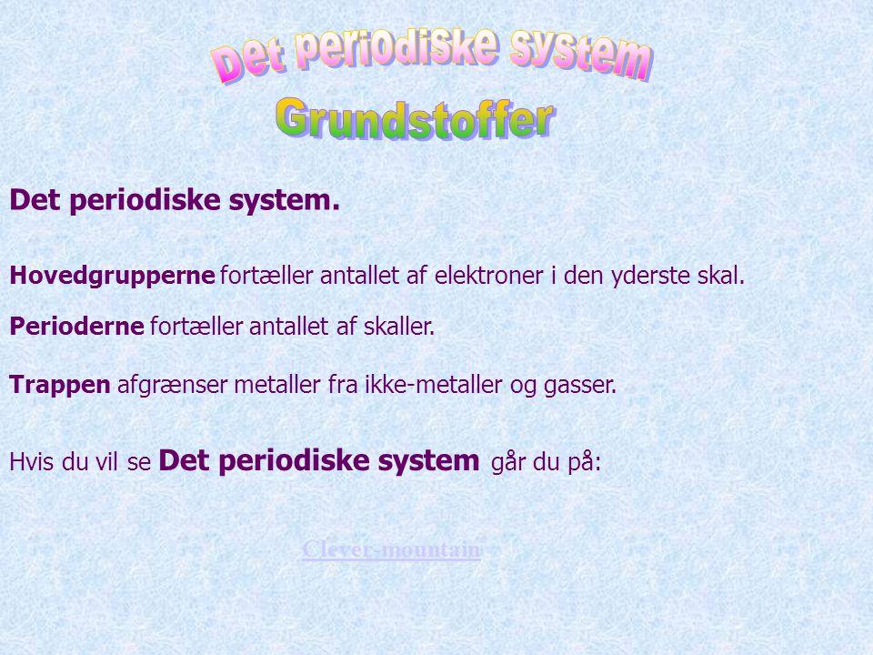 Det periodiske system Grundstoffer Det periodiske system.