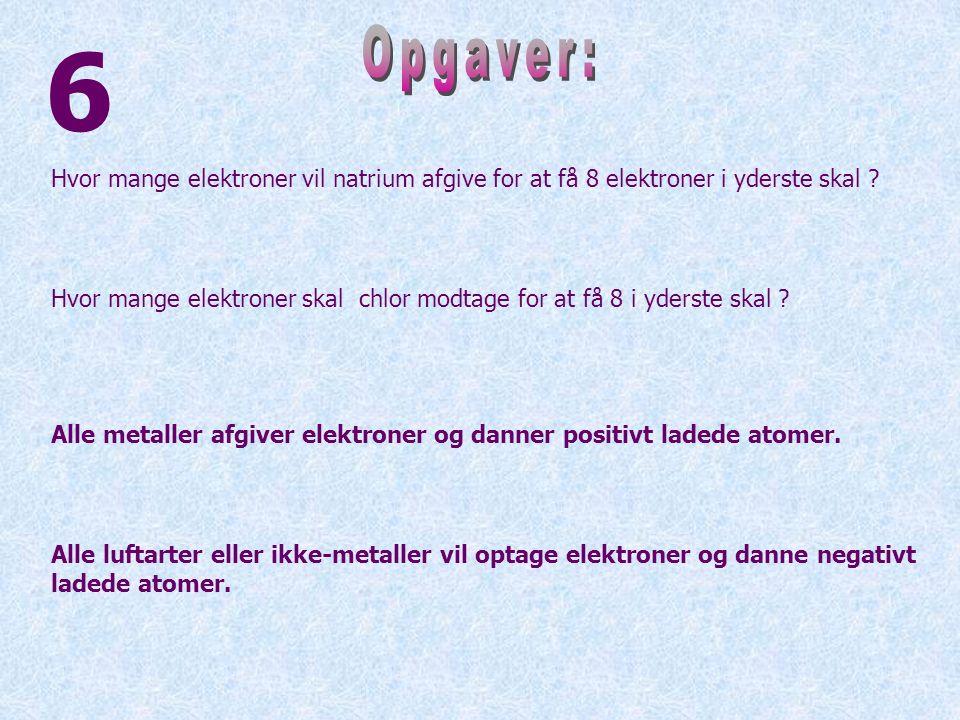 6 Opgaver: Hvor mange elektroner vil natrium afgive for at få 8 elektroner i yderste skal