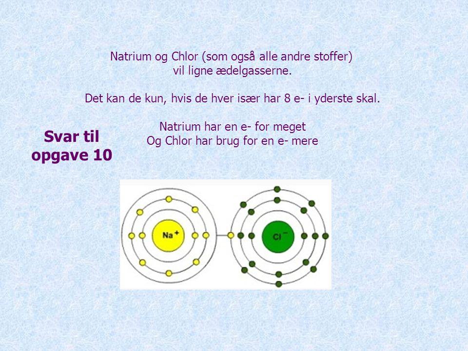 Svar til opgave 10 Natrium og Chlor (som også alle andre stoffer)