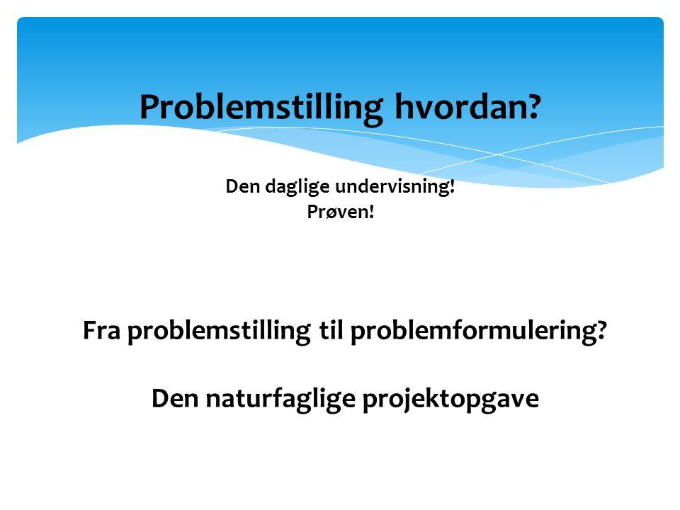 Problemstilling hvordan Den daglige undervisning! Prøven!