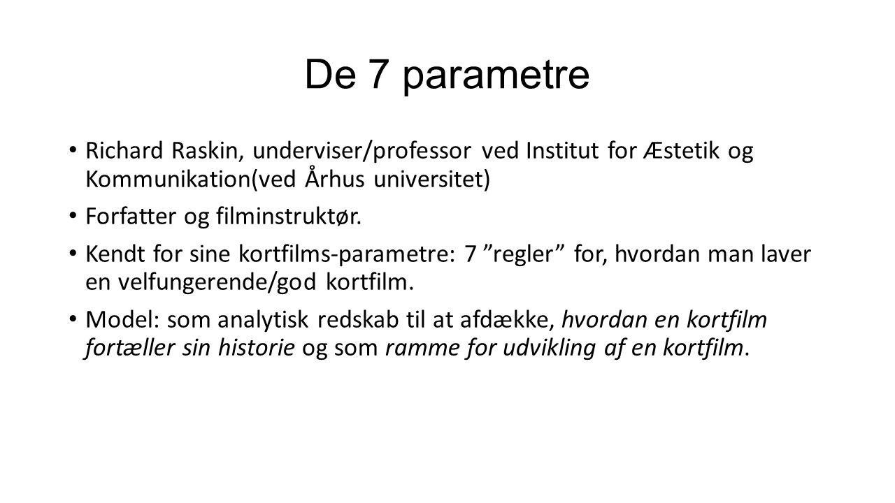 De 7 parametre Richard Raskin, underviser/professor ved Institut for Æstetik og Kommunikation(ved Århus universitet)
