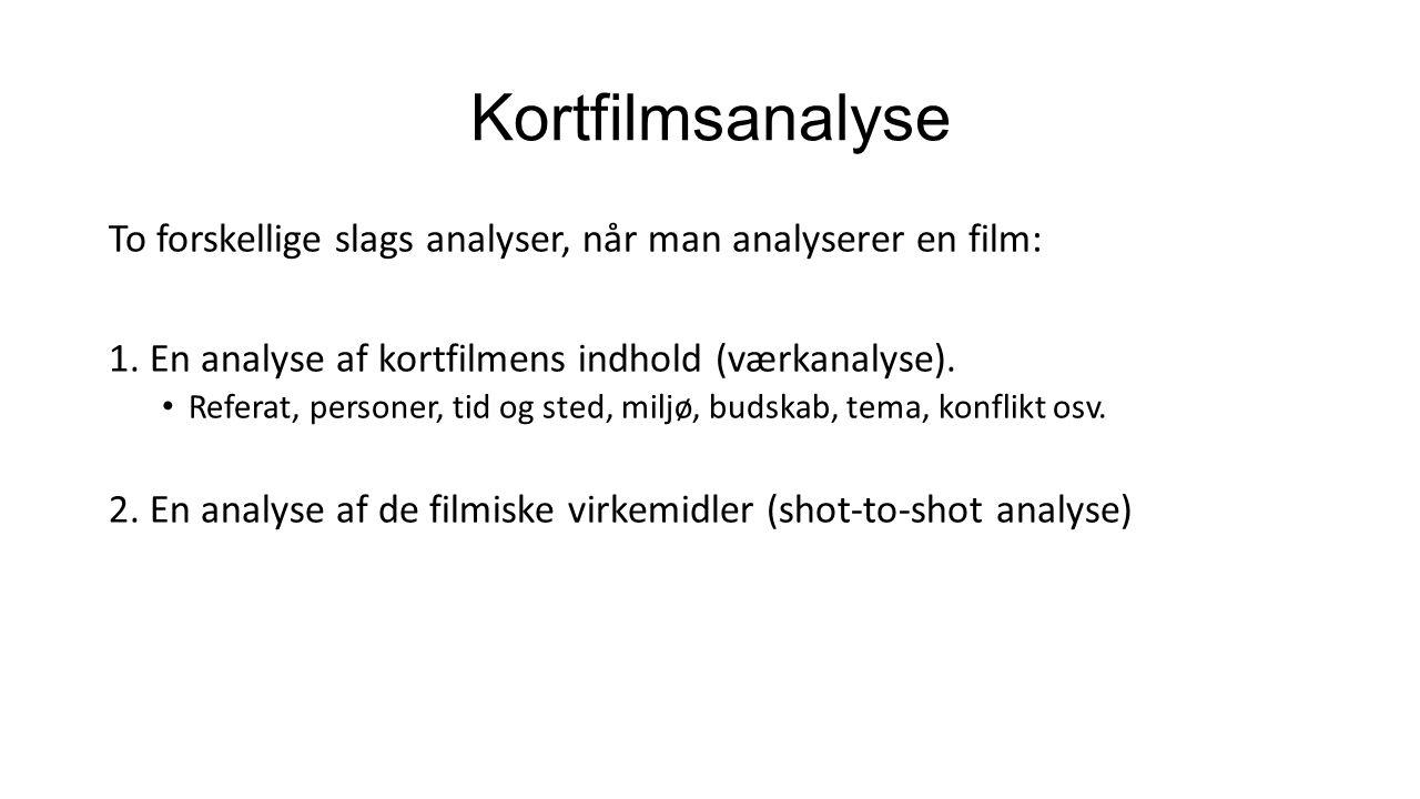 Kortfilmsanalyse To forskellige slags analyser, når man analyserer en film: 1. En analyse af kortfilmens indhold (værkanalyse).