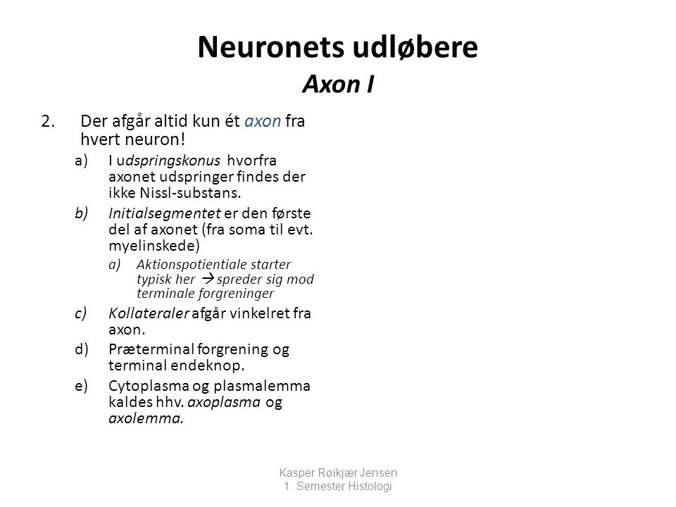 Neuronets udløbere Axon I