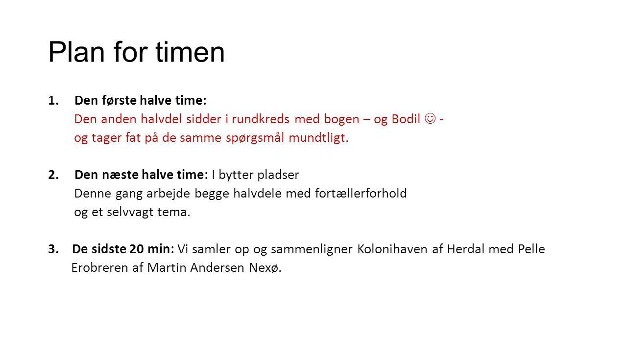 Plan for timen Den første halve time: