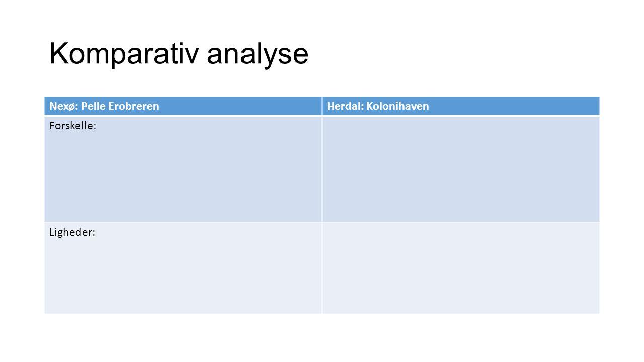 Komparativ analyse Nexø: Pelle Erobreren Herdal: Kolonihaven