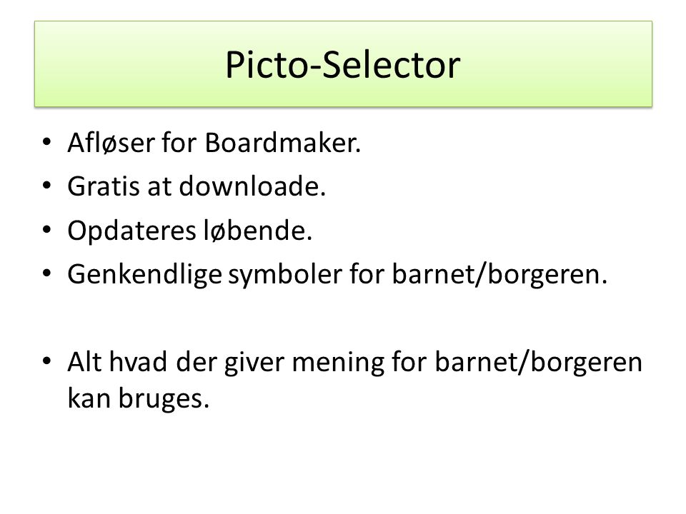 Picto-Selector Afløser for Boardmaker. Gratis at downloade.