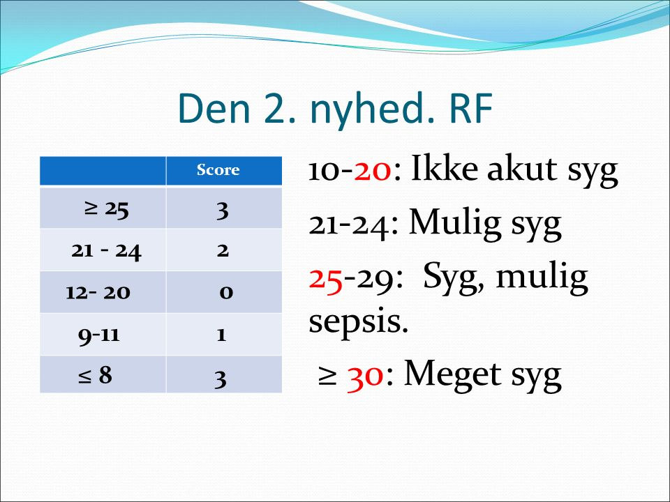 Den 2. nyhed. RF 10-20: Ikke akut syg 21-24: Mulig syg 25-29: Syg, mulig sepsis. ≥ 30: Meget syg Score.