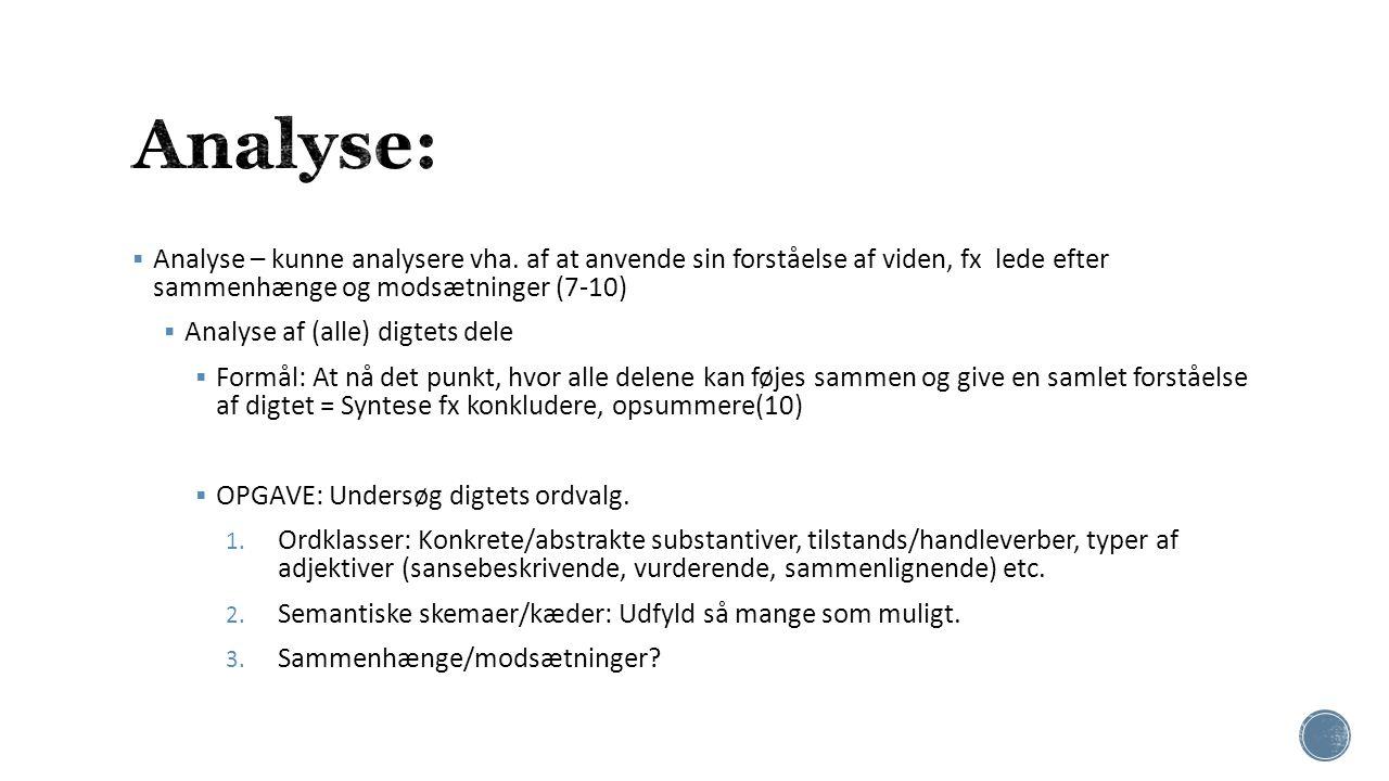 Analyse: Analyse – kunne analysere vha. af at anvende sin forståelse af viden, fx lede efter sammenhænge og modsætninger (7-10)