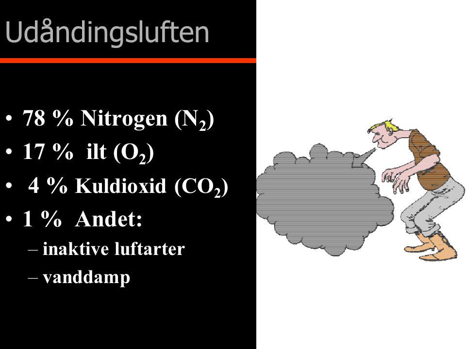 Udåndingsluften 78 % Nitrogen (N2) 17 % ilt (O2) 4 % Kuldioxid (CO2)