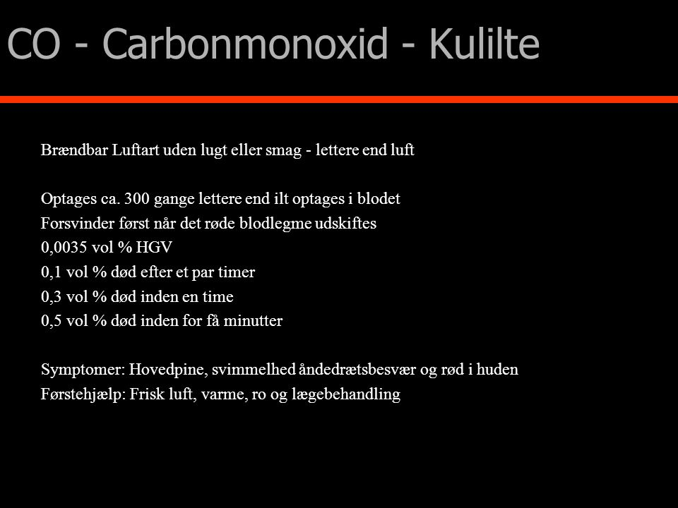 CO - Carbonmonoxid - Kulilte