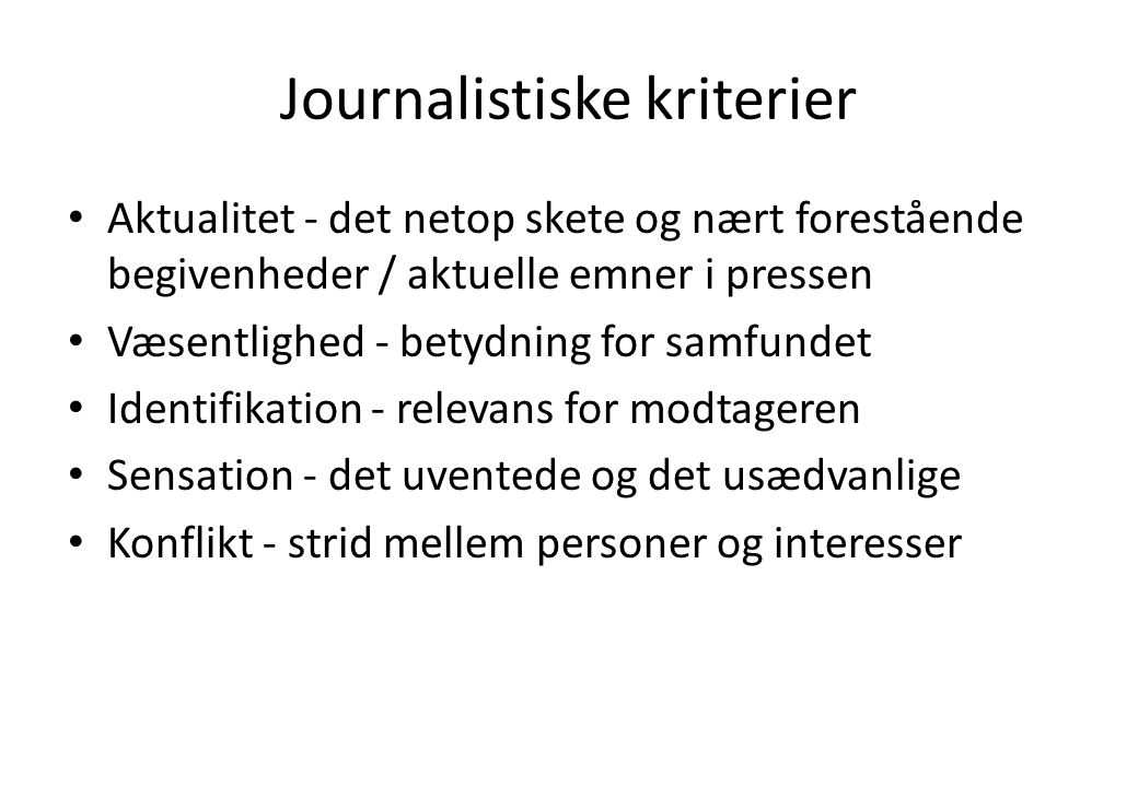 Journalistiske kriterier